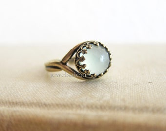 Mint Chalcedony Ring Sea Green Gemstone Ring Vermeil Gold Sterling Silver Oxidized Silver Antique Brass Birthstone Gift Stack Ring Moon Ring
