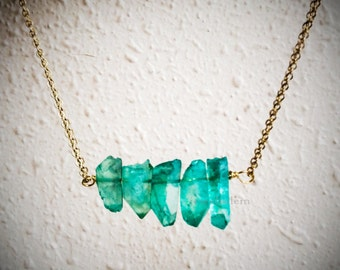 Mint Green Quartz Necklace Gold Chain Teal Aqua Gemstone Ice Berg Arrow Clear Stone Birthstone Gift Raw Crystal Mineral Modern Natural C1
