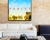Venice Beach Sign Canvas Wall Art Large, Venice Beach Home Decor, Retro Surfer Art, California Beach Canvas Art