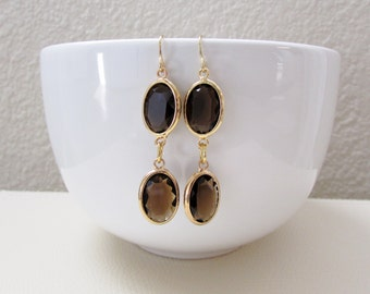 Brown and Gold Faceted Earrings