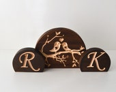 Love Birds Wedding Cake Topper Set with personalized initials, burned wood topper