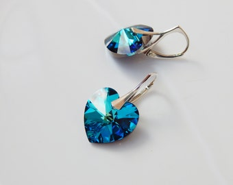 Bermuda blue heart dangle leverback earrings Swarovski crystal bright cobalt blue heart pendant sterling silver earrings