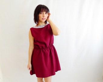 Burgundy tunic dress silk dress mini dress for women - alice in wonderland dress