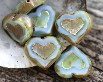 Opal Blue Heart beads, Picasso beads, czech glass, table cut, mint blue glass heart - 14mm - 6Pc - 1552