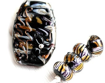 Black Lampwork beads, Tiger stripes, handmade beads, Focal, round beads, black flower bead, SRA, by MayaHoney