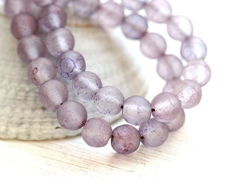 5mm round beads, Dusty Purple beads, matte finish, druk, Czech glass, round spacers, purple glass beads - 5mm - 40Pc - 1305
