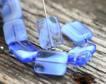 Sapphire Blue beads, Rectangular beads, czech glass rectangle beads, flat, geometrical, blue beads - 14x10mm - 8Pc - 2174