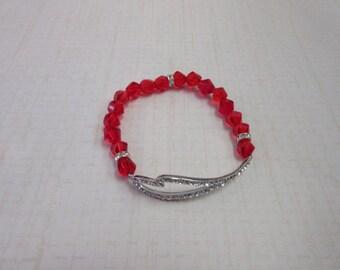 Unique Red crystal sideway heart beaded bracelet.