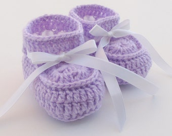 Bootie Shoes for Newborns, Lilac Baby Booties, Crochet Soft Baby Shoes