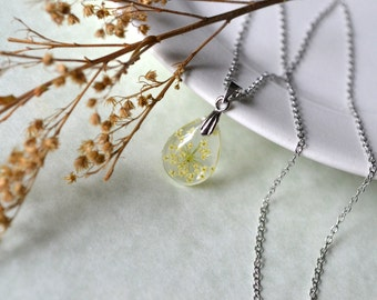 Queen Anne's Lace Pressed Flower Tiny Teardrop Resin Pendant