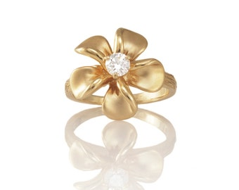 Vintage Gold Diamond Flower Ring