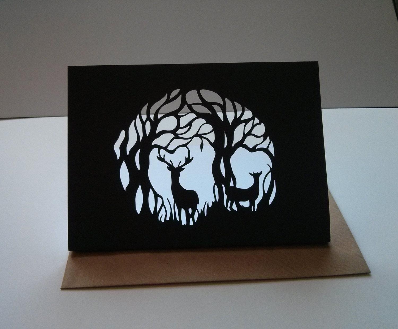 Deer card beautiful paper cut original design nature for Beautiful paper cutting art