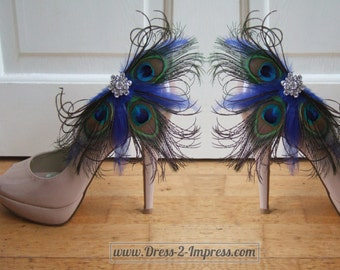 "Bridal Peacock Feathers Blue Green Fascinator Crystal Shoe Clips ""Gemma"" SCP2401 (Pair) - Mother of the Bride Wedding Ideas Bridesmaid"