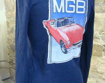 MG MGB screened TEE navy vintage long sleeved S