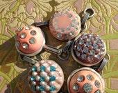 RESERVED> Antique Button Bracelet, vintage rhinestones, pink/lavender