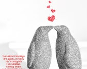 Two Kissing Penguins Glitter Wedding Cake Topper or YOU CHOOSE COLOR! Valentines Decoration, Baby Showers or Children's Nursery Decor
