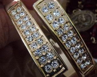 Rhinestone Cuff Bracelet Gold Tone Hinged Glitzy Costume Jewelry cocktail party sparkle glam vintage jewelry