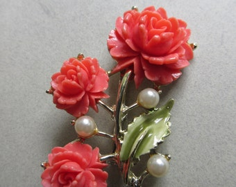 Vintage Molded Coral Rose Spring Summer Floral Pin with Faux Pearls Vintage Costume Jewelry roses Mother's Day Gift