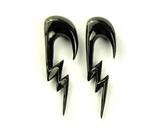 """Lightning Gauge Earrings Horn Piercing Earrings Expanders Gauges  16g 14g 12g 10g 8g 6g 4g 2g 0g 00g 1/2"""" - GA011 H G2"""