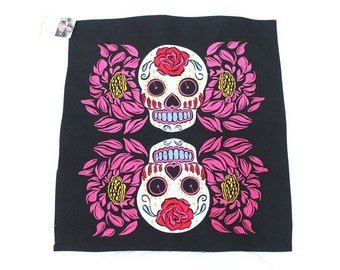 Romantic Retro Skulls On Rose Embroidered Textile Collection Thailand  (TX5111-C24)