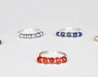 Carnelian Gemstone Ring, Silver Wire, Natural Stone, Red Orange, Sz 6