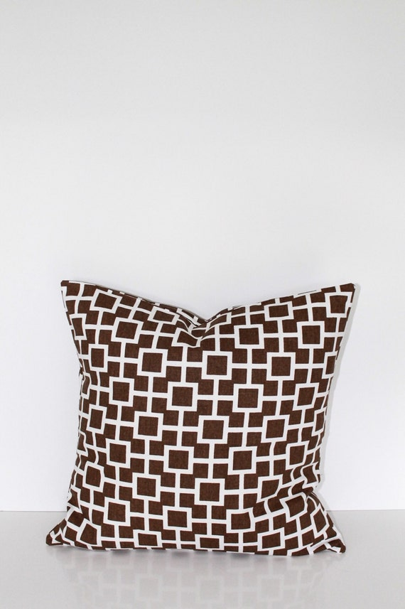 15 Inch Throw Pillow Covers : 16 inch throw pillow cover brown and white. by CushionCutDecor
