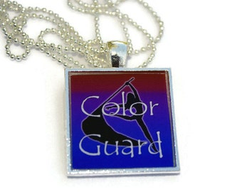 Marching Band Jewelry - Color Guard Square Resin Pendant, Color Guard Jewelry, Colorguard Jewelry, Colorguard Mom, Band Mom Jewelry
