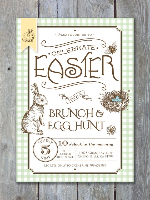 EASTER Invitation Printable file. Rustic Cottage Chic Country Style - Brunch and Egg Hunt. DIY Print or Email your own.