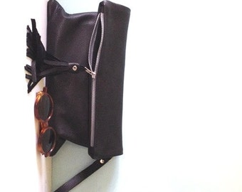 Black leather clutch bag / black fold over clutch / evening bag