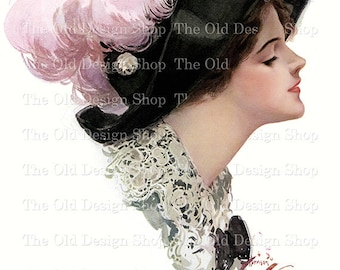Harrison Fisher Lady with Black Hat Pink Feathers Vintage Printable Digital Download JPG Image