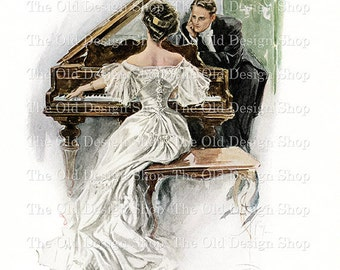 Harrison Fisher Man Woman Couple at Piano Vintage Printable Digital Download JPG Image