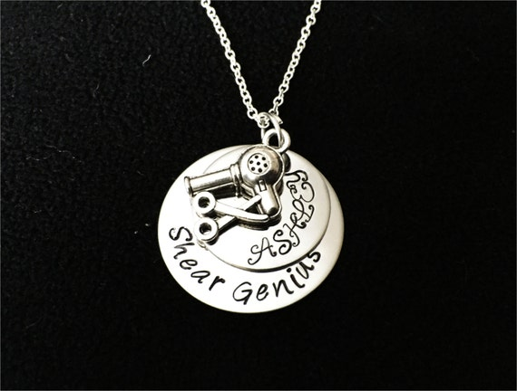 hand stamped necklace hair stylist necklace personalized