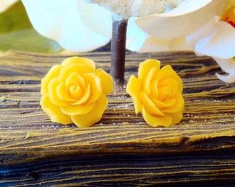 Enchanting Golden Rose Earring, Resin Rose Earring, Post, Stud