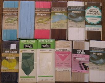 Vintage Sewing Bias Tape, Hem Facing, Seam Binding 12 Packages 1960's, 1970's, 1980's
