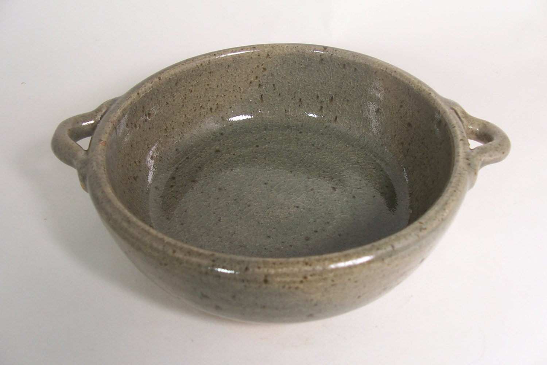 Stone Baking Dish : Rustic stoneware baking dish with loop by davegreenceramics