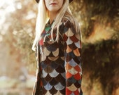 VINTAGE 70's Genuine Suede Scalloped Patchwork Colorful Jacket
