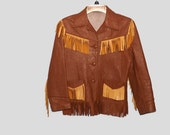 Late 50s Early 60s Childs Leather Fringe Jacket Coat Brown and Tan Westernwear Rockabilly Jo-o-Kay Corral Sportswear Admore, Oklahoma