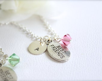 2 Best Friend Necklaces, Personalized Sterling Silver Initial, Teen Tween Girls Charm Birthstone, Friend Gift -- FREE Gift Packaging