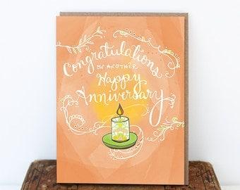 Candle Anniversary Card - Congratulations Happy Anniversary