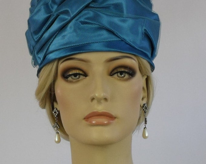1960's Turquoise Satin and Tulle Cocktail Turban Hat // Turban // Pillbox Hat