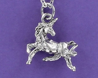 UNICORN Necklace - Pewter Charm on a FREE Plated Chain Three-dimensional