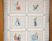 Beatrix Potter Peter Rabbit II Baby Boy Hand-Quilted Newborn Blanket, Toddler Nap Blanket, Snuggle Blanket