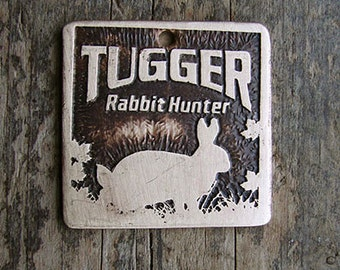 Rabbit Hunter Pet Tag, Hunting Dog Tag, Etched Brass Dog Tag 1.25 inch Square