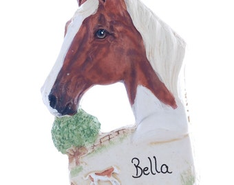 Personalized Horse Christmas ornament - sorrel horse ornament personalized with name of your choice (h88)