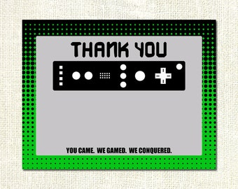 Video Game Truck Birthday Party Thank You Flat Cards Printable