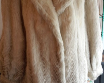 Vintage Fur Coat Women 90s Beige