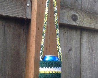 Hands-Free Can Coozie in Green, White, & Yellow. Coozie. Cozy. Portland Timbers. Tailgating. Hunting. Fishing. BBQ. Father's Day. Graduation