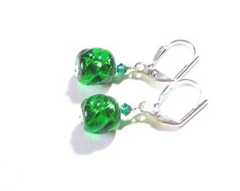 Murano Glass Small Emerald Green Twist Dangle Earrings, Sterling Silver Leverback Earrings, Venetian Jewelry, Italian Glass Jewelry, For Her