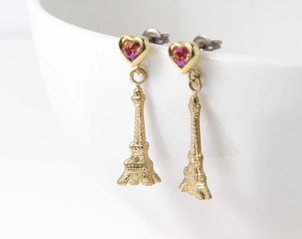 Teeny Tiny Pink Heart with Eiffel Tower Earrings. Valentine's Day Gift. J'adore Paris. Simple Modern Jewelry
