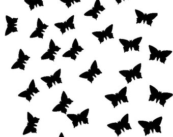 Handpunched butterflies in black cardboard